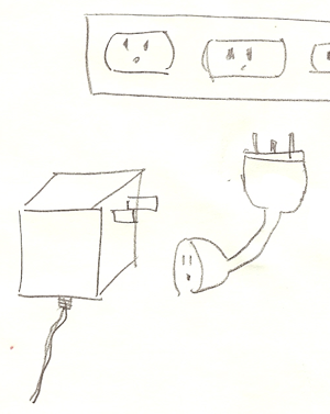 [A cropped sketch of an extension cord, power strip, and AC adapter with intentionally poor, overly minimalist image quality.]